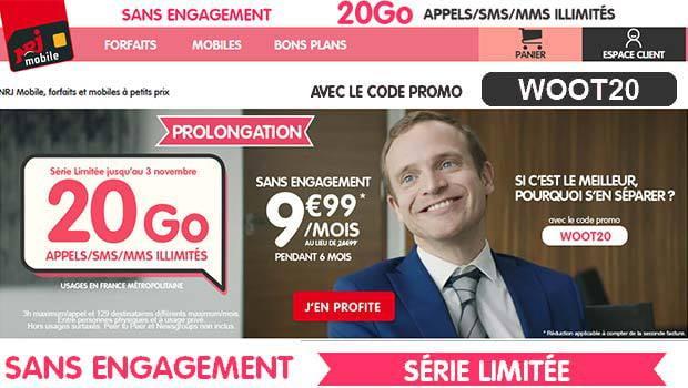 WOOT 20 pour 20 Go à 9,99€ chez NRJ Mobile
