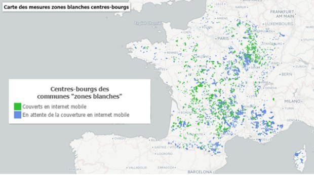 France THD : carte des mesures de zones blanches centres bourgs