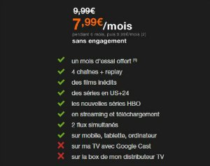 OCS en streaming à partir de 7,99€/mois