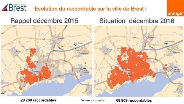 Evolution de l'éligibilité fibre optique Orange sur Brest