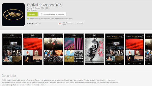 Une application mobile du Festival de Cannes disponible sur iOS et Android