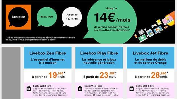 3 gamme d'offres internet fibre optique Orange