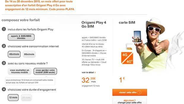 Le forfait Origami Play 4Go, en 12/24 mois, avec/sans mobile