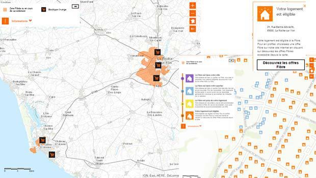 La carte du planning de déploiement de la fibre en Vendée