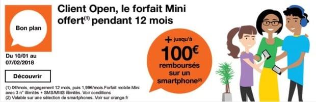 Un forfait à 0€ pour les clients Open Orange