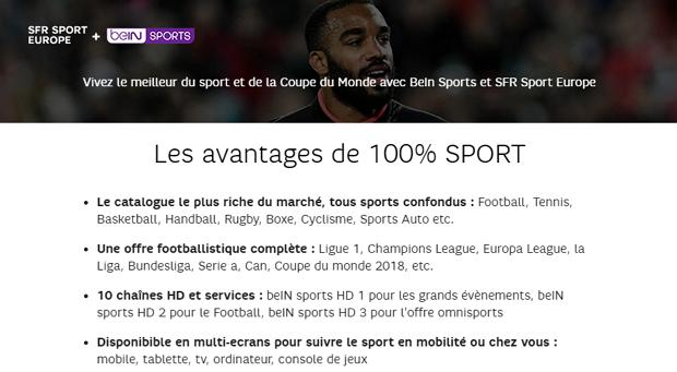 BeIN Sport pas cher chez SFR