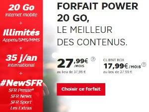 SFR Power : data doublée à 40 Go