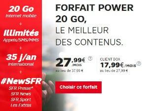 SFR : Power 20 Go avec extra BeIN Sports