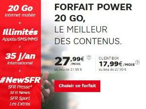 SFR: forfait Power 20 Go en promo