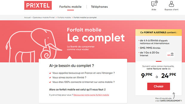 Le Complet de Prixtel, avec du fair use internet