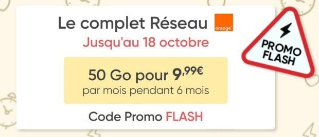 Le forfait 50Go Prixtel sur réseau Orange en vente Flash