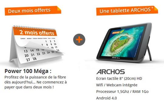 2 mois offerts et une tablette Archos sur l'offre Power de Numericable
