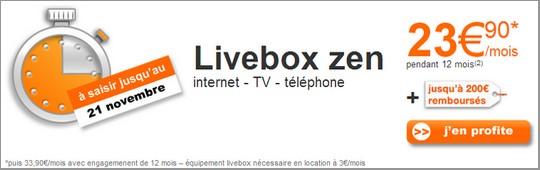 Bon Plan Livebox zen jusqu'au 21 novembre
