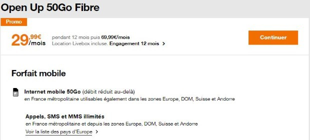 L'offre Open Up 50 Go à 29,99€/mois