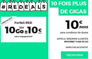 RED : forfait 10 Go à 10 euros par mois