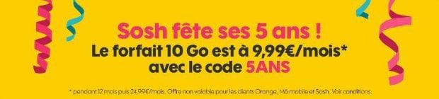 Sosh 10 Go en promotion à 9,99€/mois