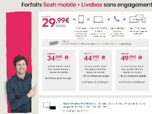 Sosh mobile + livebox en promo à partir de 14,99€/mois