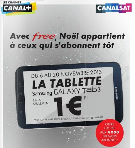 La tablette à 1€ chez Free pour un abonnement Canal+