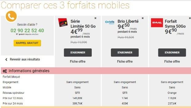 Comparez les forfaits mobiles 4G
