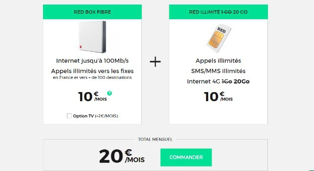 RED by SFR : box + mobile à 20 euros par mois