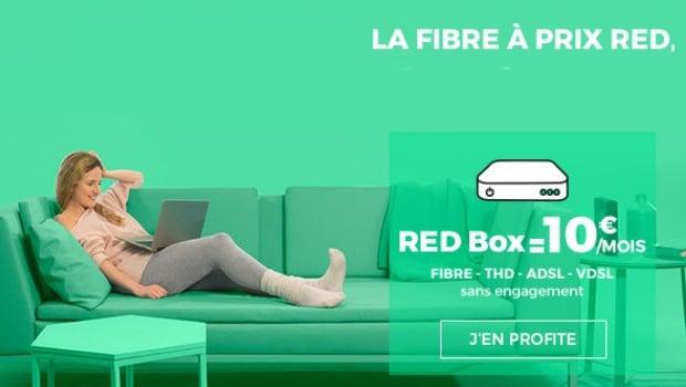 10€/mois pour l'offre RED box, ADSL, VDSL2, fibre et câble