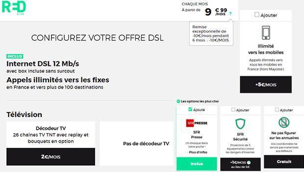 RED by SFR à 9,99€/mois en xdsl et fibre
