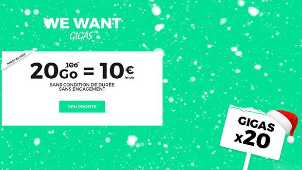 La promo RED Illimité 20Go à 10€ à vie