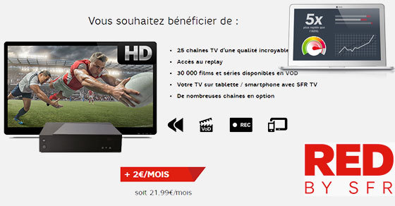 L'offre RED Fibre TV compatible avec les reductions RED Multi mobile