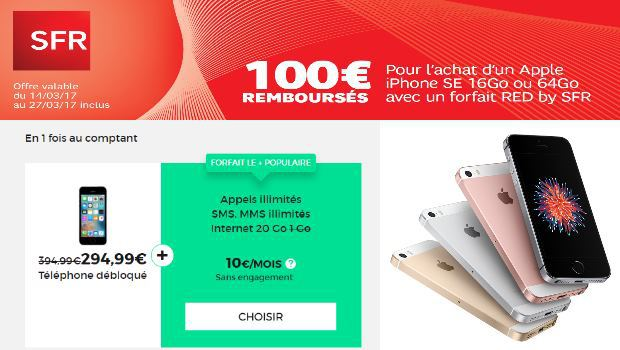 Promo de 100 euros iPhone SE RED by SFR