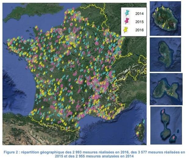Exposition aux ondes : répartition des mesures collectées par l'ANFR en 2016