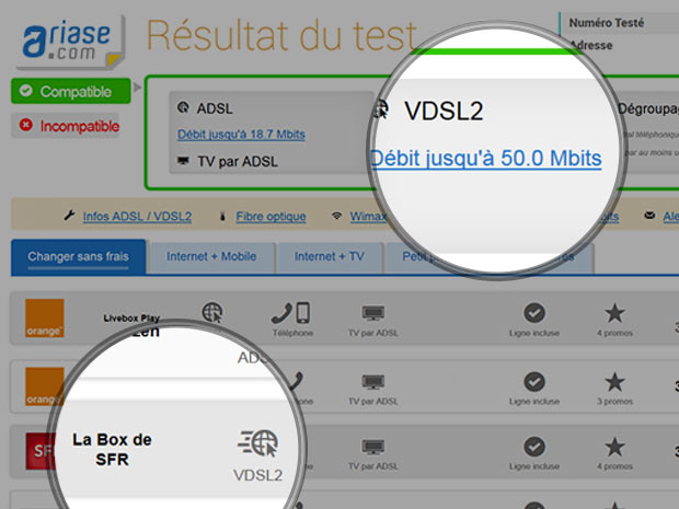test vdsl2 SFR sur Ariase.com