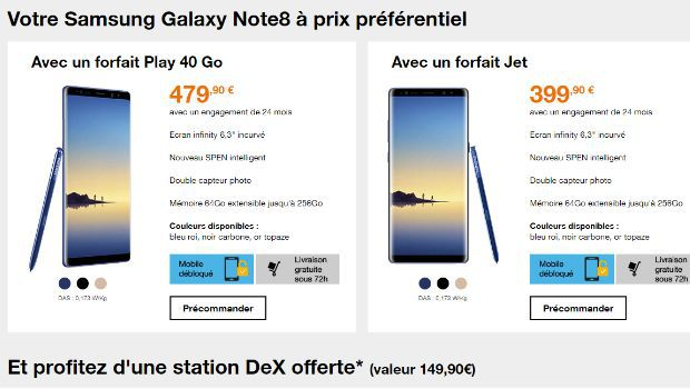 Galaxy Note8 de Samsung chez Orange