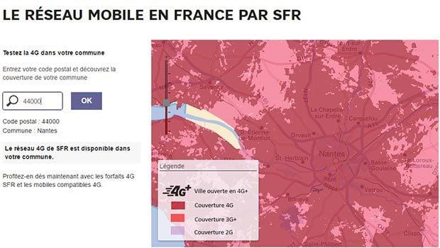 SFR couverture 4G et 4G+