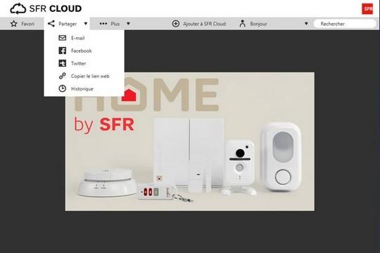 partage d'une photo sur les réseaux sociaux avec SFR Cloud