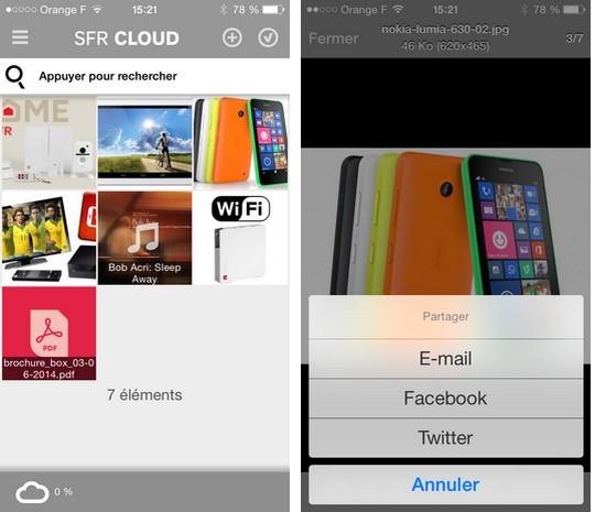 SFR cloud sur iPhone