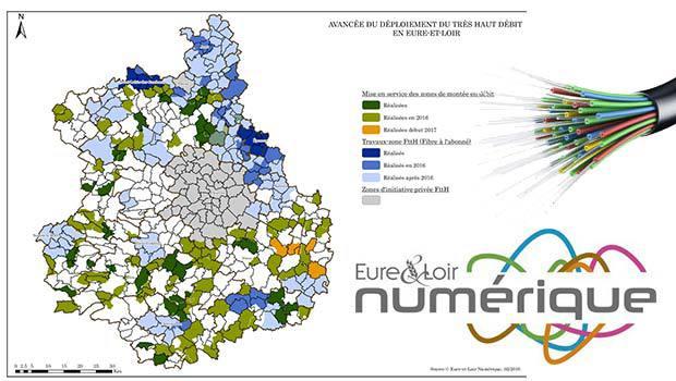 Le carte de la fibre optique Eure-et-Loir Numérique