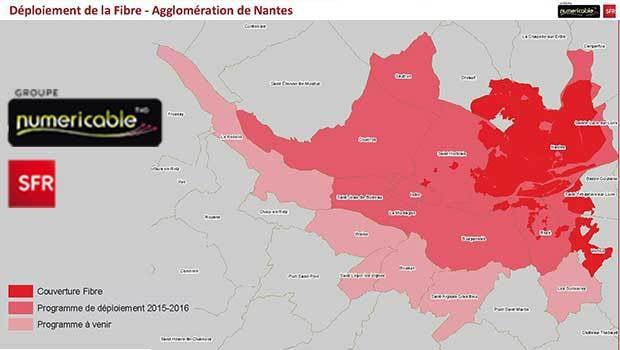 Le déploiement prévisionnel de la Fibre SFR sur la region de Nantes'