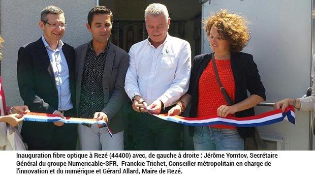 de gauche à droite, Jérôme Yomtov, Secrétaire Général du groupe Numericable-SFR,  Franckie Trichet, Conseiller métropolitain en charge de l'innovation et du numérique et Gérard Allard, Maire de Rezé