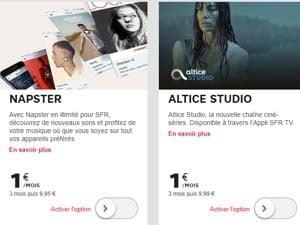 Altice Studio ou Napster à 1euro/mois