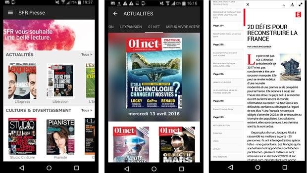 SFR Presse sous iOS et Android