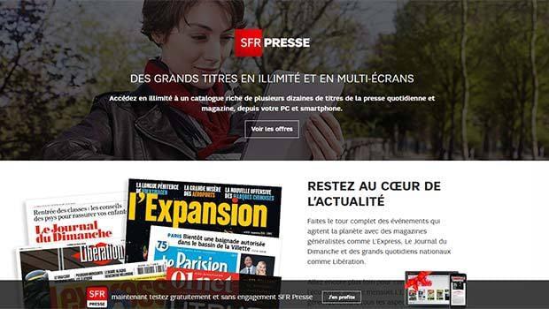 SFR PRESSE : une quarantaine de médias en illimité