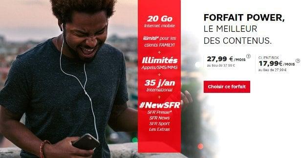 SFR : réduction sur le forfait Power 20 Go