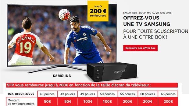 Jusqu'à 200€ de remboursés sur un TV UHD Samsung