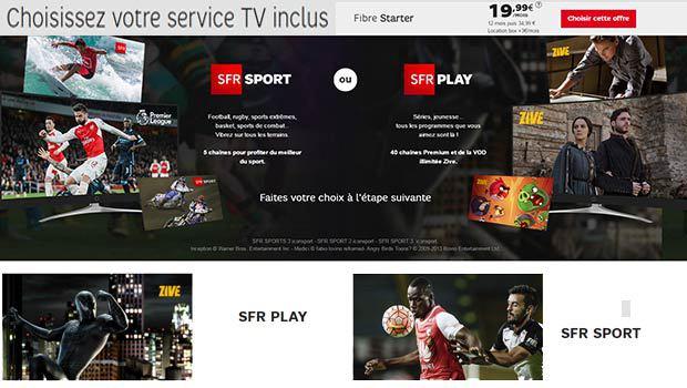 SFR Play + Zive ou SFR Sport au choix gratuit pendant un an