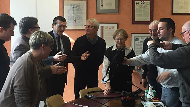 Michelle Piccoli, Maire de Pulnoy et Didier Jenczak, Directeur des Relations Régionales Est de SFR inaugurent le réseau Fibre à Pulnoy