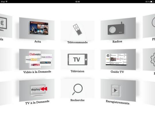 Ecran d'accueil SFR TV