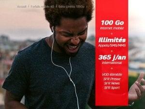 forfait SFR : offre spéciale 100 Go