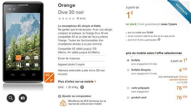 Le Orange Dive 30, l'entrée de gamme 4G selon l'opérateur