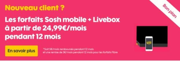 Sosh : promo Livebox + mobile
