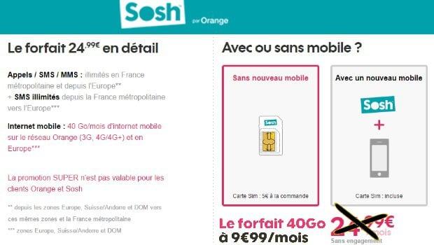 Sosh mobile 40Go